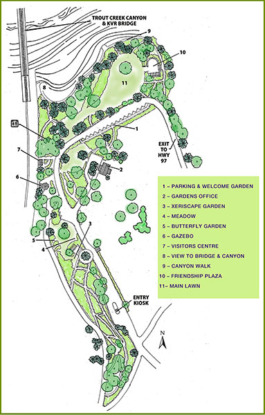 Map of the Summerland Ornamental Gardens