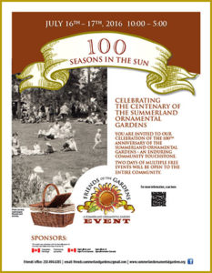 Summerland Ornamental Gardens Centennial Celebraration Poster 2016